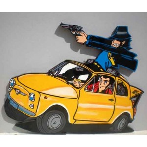 Fiat 500 Lupin & Jigen - sagoma in legno